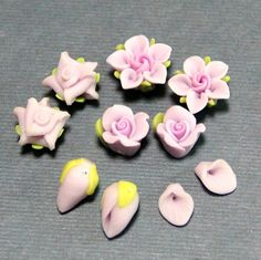 5pc-Set-Romantic purple-Polymer Clay DIY Flowers Set for Earring Pendant Ring