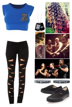 Raw in London, England - On Commentary with Dean Ambrose and Roman Reigns during Seth Rollins vs Batista's Match by alyssaclair-winchester on Polyvore featuring Tripp, Vans, WWE, theshield and evolution