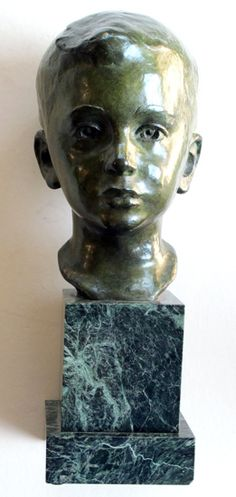 beautifully rendered american 1940's bronze bust of a young boy on marble plinth; signed 'jg kendall 1945' (gorham co. foundry), dated 1945 @Epoca San Francisco http://eepurl.com/FSHJ9 and http://epocasf.com/tearsheet.aspx?epitemnumber=3818