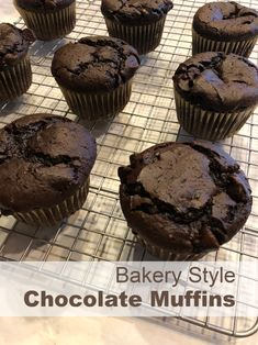 These chocolate muffins are a homemade version of those famous bakery style muff. These chocolate muffins are a homemade version of those famous bakery style muffins. They are easy Cake Mix Recipes, Baking Recipes, Dessert Recipes, Desserts, Cupcake Recipes, Double Chocolate Chip Muffins, Chocolate Cake Mixes, Chocolate Muffin Recipes, Chocolate Muffins Moist