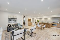 Bespoke real estate photography and video for inner city Melbourne's most prestigious properties. Real Estate Photography, Open Plan Living, Dining Bench, Living Rooms, Tile Floor, Flooring, Creative, Table, Furniture