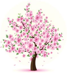 Vector illustration of a tree with cherry blossom and green leaves. Peach Trees, Peach Blossoms, Green Trees, Cherry Blossom Tree, Blossom Trees, Disney Princess Crafts, Japanese Cherry Tree, Girl Drawing Sketches, Embroidery Flowers Pattern
