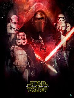 Artwork done originally as part of the Poster Posse artist collective to promote Star Wars The Force Awakens. The work features all of the prominent main characters of the movie together with elements of their background story.