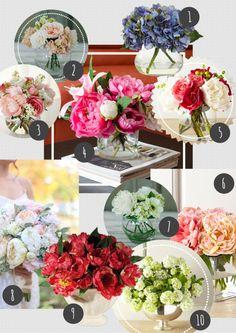westwing sztuczne kwiaty bukiety jedwabne płatki róże piwonie hortensje ikebana bukiet ślubny