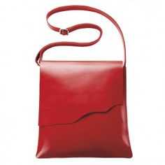 Leather Crossbody Bag-Red