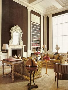 Carolyn Roehm  I'm beginning to really like the brown wall, creamy trim concept more and more.