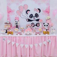 30th Birthday Party Themes, Panda Birthday Party, Panda Party, 1st Birthday Cakes, Birthday Decorations, Baby Shower Cakes, Baby Shower Themes, Birthday Cake Video, Panda Themed Party