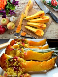 Roasted Butternut Squash with Curried Jewel Quinoa by elephantjournal #Butternut_Squash #Quinoa #Onion #Cranberry #Sage #Curry #Healthy