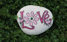Painted Love rock, garden decoration, Flower Painting