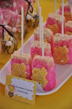 Rice Krispie treats at a Girly Bee Party Birthday Party!  See more party planning ideas at CatchMyParty.com!