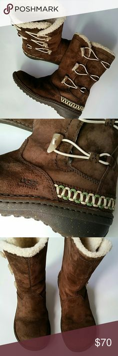 UGG BOOTS KONA . PRICE IS FIRM. In pre loved excellent condition.  Elastic toggle closure.  Brown.  Size 8. The only flaws are some stains on the front of both boots. See last picture . UGG Shoes Winter & Rain Boots