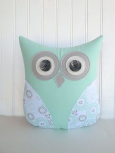 owl pillow mint green and grey pillow by whimsysweetwhimsy on Etsy, $36.00