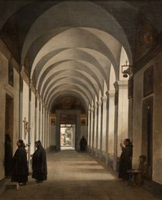 https://flic.kr/p/QYL5hn | François Marius Granet, Monks in the Cloister of the Church of Gesù e Maria, Rome, 1808 | Oil on canvas