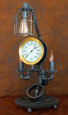 steampunk machine age lamp brass steam gauge tractor gears lamp industrial art