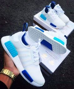 Adidas Women Shoes - Adidas NMD White Blue Glow - We reveal the news in sneakers for spring summer 2017 Dream Shoes, Crazy Shoes, Cute Shoes, Me Too Shoes, Souliers Nike, Basket Mode, Adidas Shoes Women, Sneakers Women, Adidas Nmd Women
