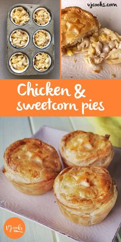 Chicken and sweetcorn pies, easy recipe from VJ cooks Muffin Tin Recipes, Pastry Recipes, Mini Pie Recipes, Party Pies Recipe, Healthy Pie Recipes, Muffin Tins, Savoury Recipes, Curry Recipes, Delicious Recipes