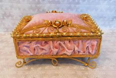 GORGEOUS PINK FILIGREE Jewelry Casket ~ Vintage Gold Twisted Wire Jewel Box w/Roses & Pearls ~ Vanity / Dressing Table Storage Vintage by EclecticJewells on Etsy
