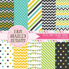 Instant Download Pool Party Boys Digital Paper Pack Personal & Commercial Use Polka Dots Stripes & Chevron Patterns