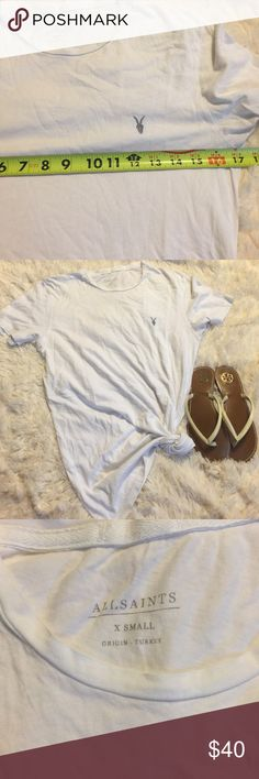 All Saints white tee EUC with small pin hole in the back of neckline, see photo. All Saints Tops Tees - Short Sleeve