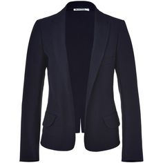 JIL SANDER Cadet Blue Cotton Gabardine Buttonless Blazer ($1,770) ❤ liked on Polyvore
