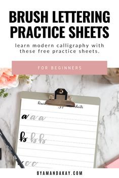 Learn the basic strokes and lowercase alphabet for brush lettering with these free practice sheets. #byamandakay #brushlettering #practicesheets #handlettering #freedownload