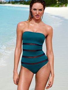 Mesh-inset Strapless One-piece