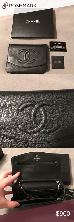 Chanel wallet on a chain Chanel caviar WOC in black. Has been loved very much. Comes with authenticity card, box and original packaging. CHANEL Bags Crossbody Bags