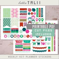 Weekly kit Planner Stickers PINK IKAT Printable Stickers+ CUT files stickers- Green pink tribal Arabesques Damask Weekly stickers Silhouette by HelloTaliiPrintables on Etsy