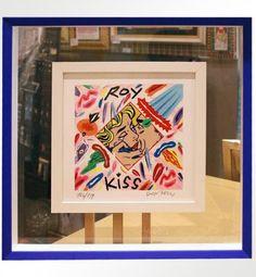 """Bruno Donzelli, """"Roy Kiss"""", serigrafia materica a smalti, cm 25X25, tiratura 99 es. fondo nero + 100 es. fondo bianco, anno 2010, € 150,00 cornice inclusa"""