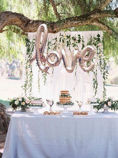 LOVE script- Rose gold Mylar Balloons {Party- Celebration Decor} The perfect statement piece for your next celebration. These rose gold mylar balloon is easily strung and hung for your next party! (Looks great for a photo/ backdrop pictures! Bridal Shower Backdrop, Bridal Shower Tables, Bridal Shower Decorations, Bridal Shower Balloons, Bridal Party Tables, Balloon Wedding, Simple Bridal Shower, Bridal Parties, Backyard Engagement Parties