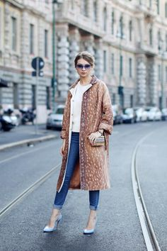 carven deer print coat || tan longline coat + cream sweater + cuffed denim + pale blue heels