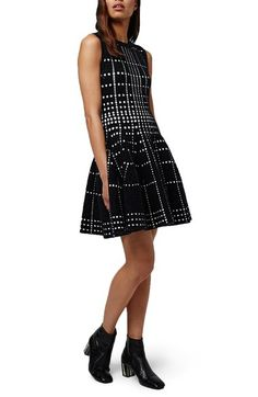 Topshop Dot Jacquard Fit & Flare Knit Dress available at #Nordstrom