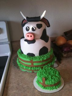 Cow cake with matching smash cake!