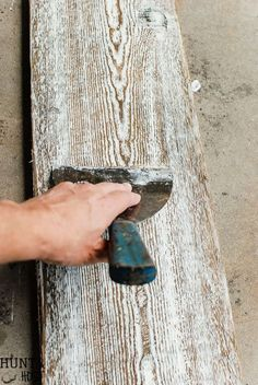 DIY aged barnwood. Learn how to age new wood to look old in minutes with this tutorial.