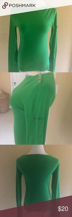 Long sleeve green Tory Burch t-shirt Buttons on the neck, pocket on the sleeve Tory Burch Tops Tees - Long Sleeve