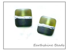 Set 2 small pillow shaped handmade lampwork by Earthshinebeads, £4.00