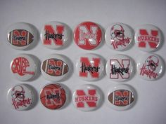Nebraska Huskers flat back button or pin badge cabochons embellishments centers #flatbackoneinchbutton