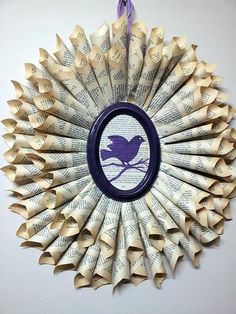 book-page-wreath (the purple is NOT my thing, but I like the idea of the bird stamped/printed on a page in the center)