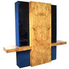 Vladimir Kagan Burl Wood Wall Unit Cabinet Sideboard