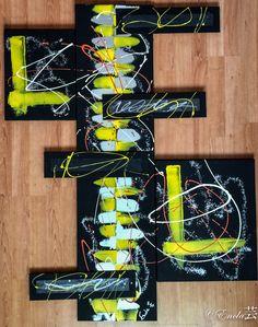 """""""Natural Yellow (dans ma série """"Natural)  Dimension: - Chassis central 1.20mX30cm - Chassis gauche 35cmX27cm - Chassis droit 46cmX38cm - 4 cartons entoilés de 40cmX10cm Descriptif de l'œuvre : Tableau réalisé à la peinture acrylique, gesso noir, bombe et modeling past Le tableau peut etre reproduit selon la dimension de votre choix. Me contacter par Message privé sur mon site"""