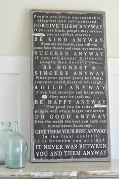 Mother Theresa Quote Sign by BetweenYouAndMeSigns on Etsy, $125.00
