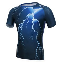 Summer Mens Fashion Lightning Short T-shirt Sports Cycling Workout Speed Dry Tight Tees