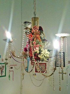 Oh wow... Can't beat chandeliers... Teacups, beads, flowers and keys.