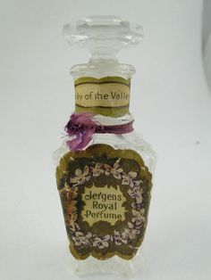 Nouveau Glass Perfume Bottle: Jergens' Royal Lily of the Valley.