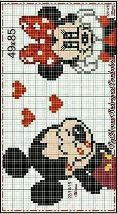 Minnie and Mickey Mouse x-stitch Mickey Mouse, Mickey Minnie Mouse, Loom Patterns, Cross Stitch Patterns, Pixel Art, Disney Stich, Disney Quilt, Crochet Disney, Disney Ornaments