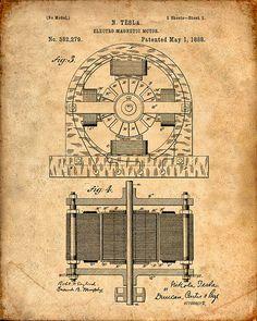Patent Print - Tesla Electro Magnetic Motor - Tesla Wall Art - Tesla Print - Tesla Patent - Tesla Poster