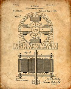 Patent Print Tesla Electro Magnetic Motor Tesla by VisualDesign
