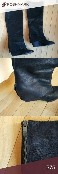 Authentic Vince Camuto black leather boots 11 Authentic Vince Camuto black leather boots size 11. Nickel heavy duty zippers give an edgy look to any outfit. Zippers at calf and at hidden wedge. Wedge is 4 inches. Some scuffs from being in my closet, but barely worn outside as evidence by the sole and stickers.  Super soft leather.  Sole to top of boot is 20 3/4 inches tall. Calf opening 16 inches. Excellent condition. Vince Camuto Shoes Heeled Boots