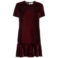 Saint Laurent Velvet Minidress ($2,290) ❤ liked on Polyvore featuring dresses, red, short red dress, yves saint laurent, burgundy red dress, red velvet dress and short dresses