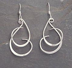 Sterling Dangle Earrings  Handmade Forged by SunnySkiesStudio, $39.50